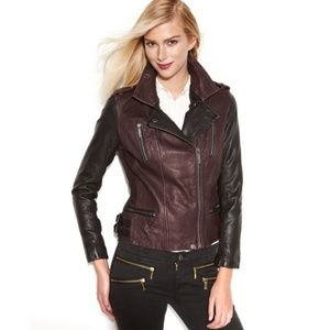 Michael Kors Leather EUC 2-tone Moto Jacket